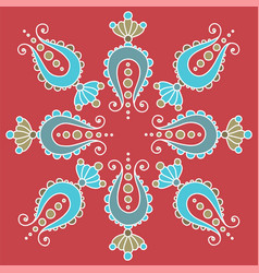 simple hand drawn mandala fancy paisley elements vector image