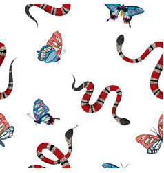 Snakes and tropical butterflies seamless pattern vector