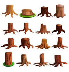 stump tree icon set cartoon style vector image