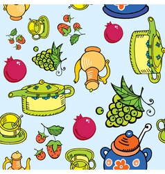 teapot and fruits vector image