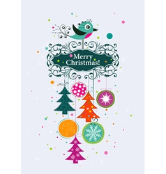 Template Christmas greeting card ribbon vector