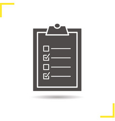tests checklist on clipboard with marks icon vector image