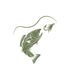 trout and lure fishing design template vector image