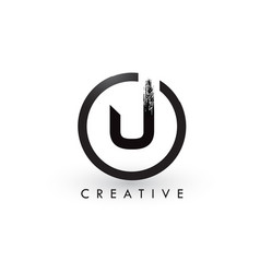 u brush letter logo design creative brushed vector image