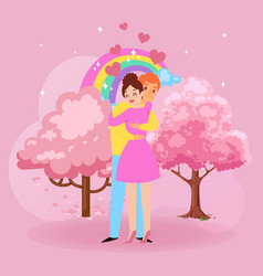 valentine s day romantic love couple hugs cartoon vector image