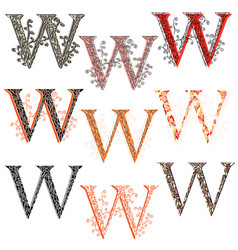 various combination fishnet letter w vector image