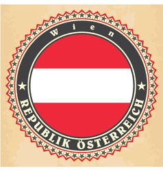 vintage label cards austria flag vector image
