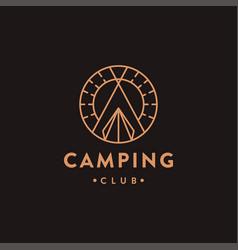 vintage lineart camping outdoor adventure logo vector image