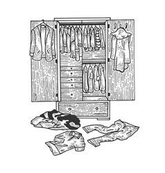 Wardrobe with clothes sketch engraving vector