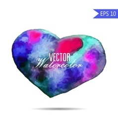 Watercolor painted colorful heart element vector image