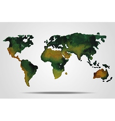 Watercolor world map vector