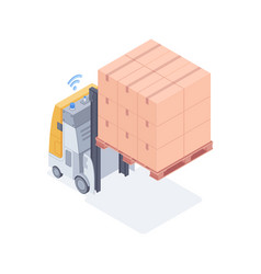 wi-fi forklift lifting boxes isometric vector image