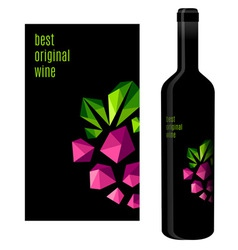 Wine label with bunch of grapes vector image