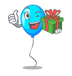 With gift party balloon blue mascot the isolated vector