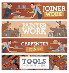 woodworking and painting tools shop banner vector image