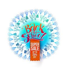 back to school sale on blue splash vector image