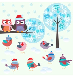 Birds and owls in winter forest vector image vector image