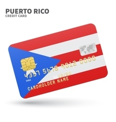 Credit card with Puerto Rico flag background for vector image vector image