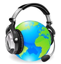 help desk headset world globe vector image