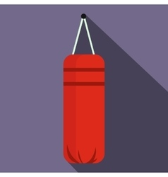 Red punching bag for boxing icon flat style vector image
