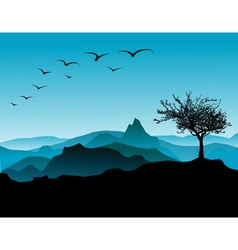 tree with mountains vector image vector image