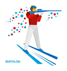 Biathlon athlete shoots a rifle standing on skis vector