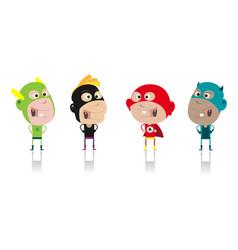 cartoon super heroes kids crew vector image