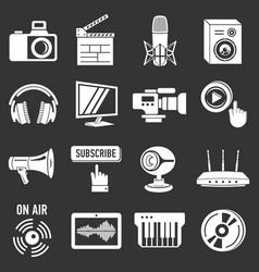 multimedia internet icons set grey vector image