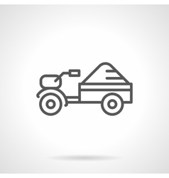 Seed tractor black line icon vector image