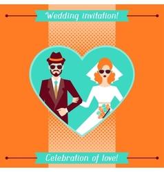 Wedding invitation card template in retro style vector image vector image