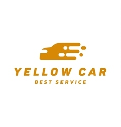 Yellow abstraction car icon logo flat style vector image