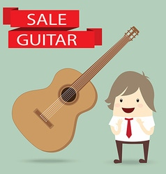 Businessman is happy with guitar on sale vector