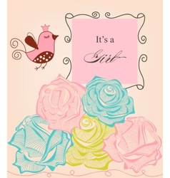 Floral baby girl shower roses and cute bird vector