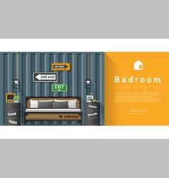 Interior design Modern bedroom background 6 vector image vector image