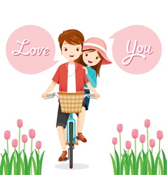 Man And Woman On Bicycle Together vector image vector image