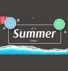 Summer background banner with seashore sun vector