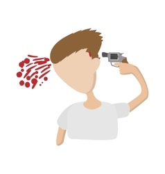 A man commits suicide icon cartoon style vector