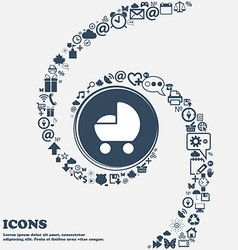 Baby pram icon in the center around the many vector