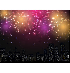 Beautiful Fireworks display with city skyline vector image