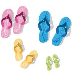 family flip flop vector image