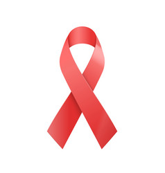 realistic red ribbon world aids day symbol vector image vector image