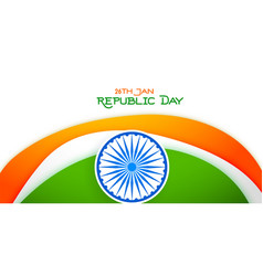 26 january happy republic day tricolor banner vector