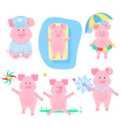 a set of funny pigs piggy sailor pigling with a vector image