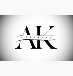 Ak letter logo with serif letter and creative cut vector