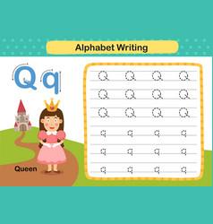 Alphabet letter q-queen exercise with cartoon vector