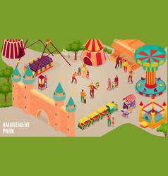 Amusement park isometric horizontal vector