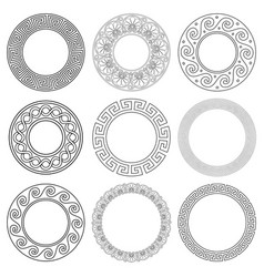 ancient greek mandala pattern set stroke vector image