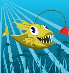 Anglerfish with heart vector