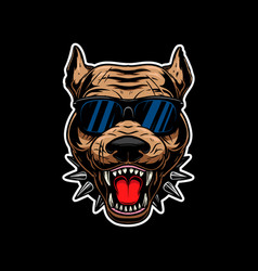 Angry pitbull terrier head in sunglasses design vector