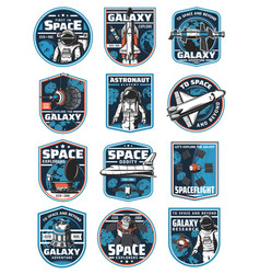 astronaut in galaxy rocket in outer space icons vector image